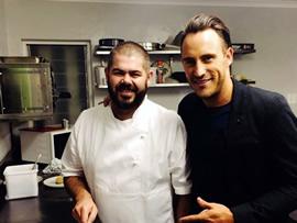 Faf du Plessis (right) with chef Nic van Wyk of Bistro 13 in Stellenbosch