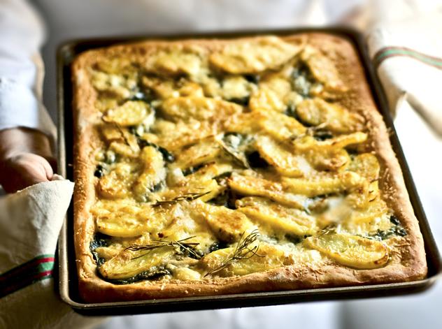 Potato, taleggio and spinach tart