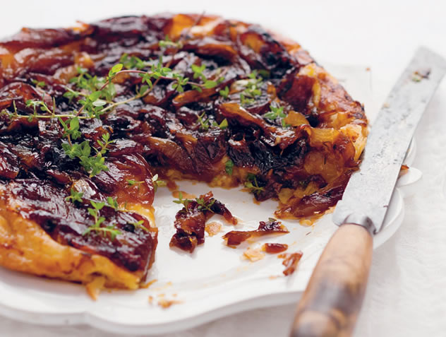 Upside-down caramelised shallot and camembert tart