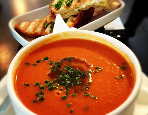 Clarke's tomato soup with grilled cheese