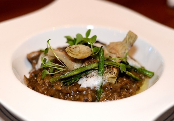 De Grendel wild mushroom risotto, truffle, parmesan, asparagus and grilled artichokes. Photo couresty of restaurant.
