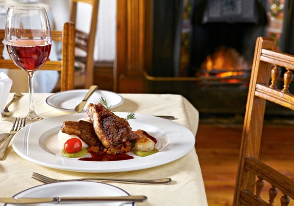 The grilled lamb chops with creamed potatoes, ratatouille vegetables, pea and mint puree and red wine jus at the Lord Milner Hotel. Photo courtesy of restaurant.