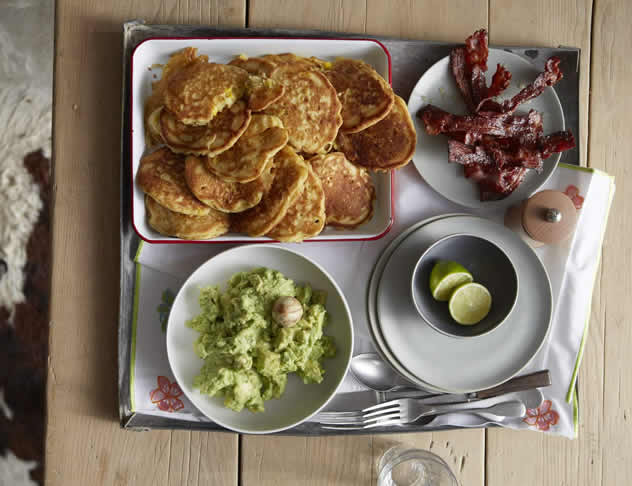 John Torode makes Corn Cakes. Photo courtesy of the Good Food and Wine Show.