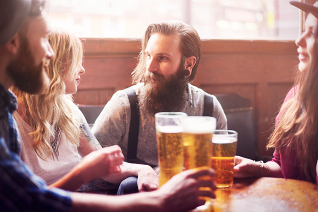 Bearded men with beers