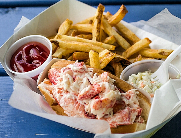 Crab roll and chips at  The Deckhouse Crab Shack and BBQ. Photo courtesy of the restaurant.