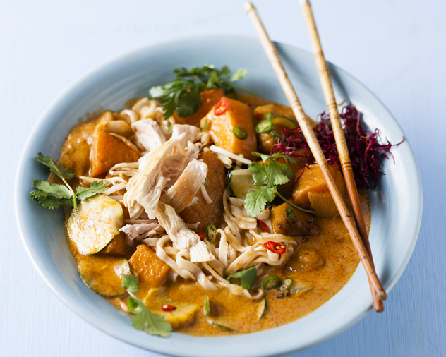 Butternut and chicken Thai red curry with noodles
