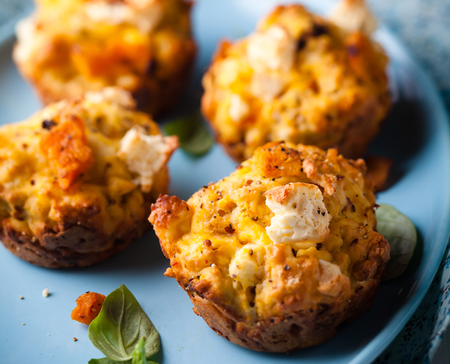 Butternut, chilli and feta muffins