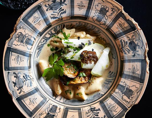 Hand made gnocchi on roasted aubergine & pear puree with black truffle cream at Hemelhuijs Restaurant. Photo courtesy of the restaurant.
