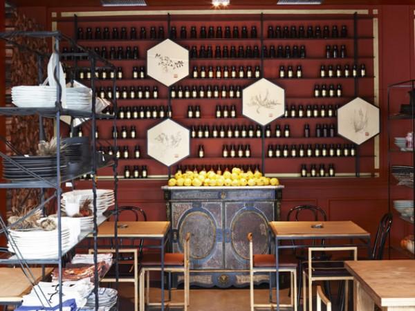 The striking shelving at Hemelhuijs Restaurant. Photo supplied.