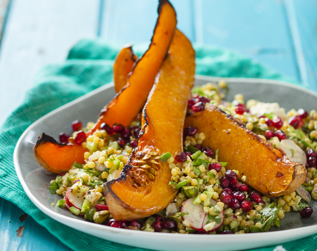 Roasted butternut and feta couscous salad