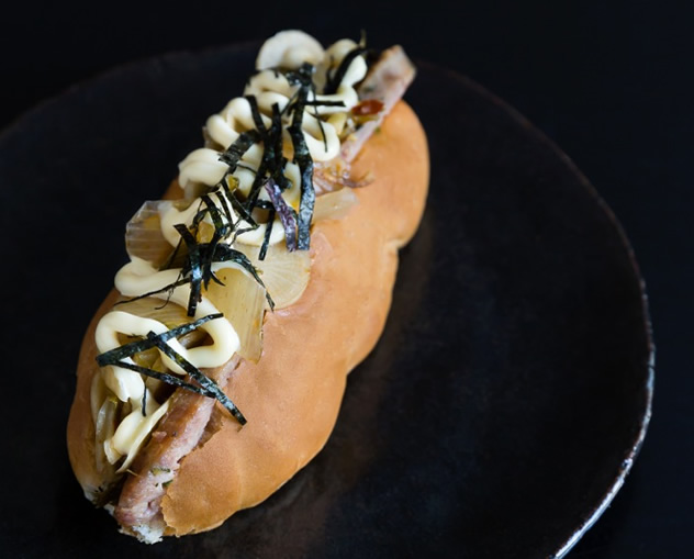 A Pork Atsui Dog from Tjing Tjing Torii. Photo courtesy of the restaurant.