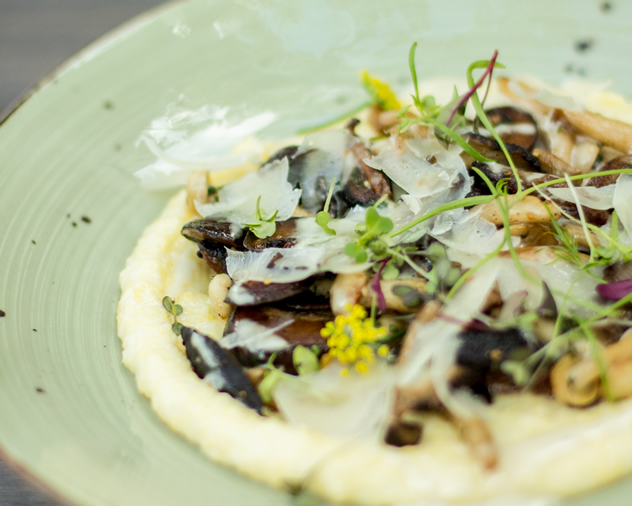 Wild Mushrooms on polenta at Rupert & Rothschild Vignerons. Photo courtesy of the restaurant.