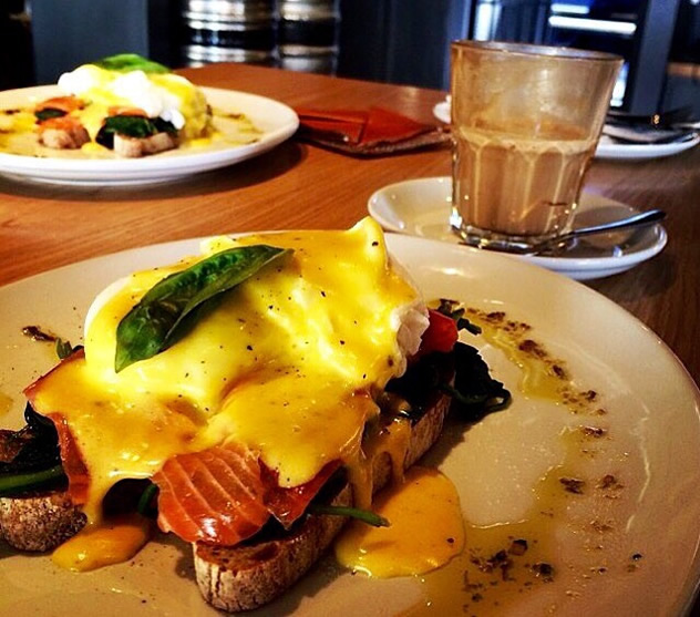 Eggs Benedict at the Bootlegger Coffee Company. Photo courtesy of the restaurant.