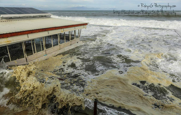The sea level rose several feet, filling up the restaurant's lower seating areas. Photo courtesy of Robyn Gwilt.