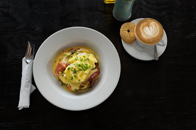 Eggs Benedict at The Glenwood Bakery. Photo by Xavier Vahed.