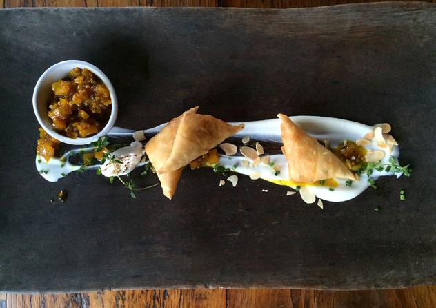 The samoosa starter at Emily Moon in Plett. Photo courtesy of the restaurant.