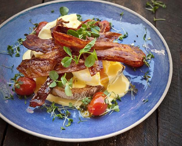 Four & Twenty Eggs Benedict with crispy bacon. Photo courtesy of the restaurant.