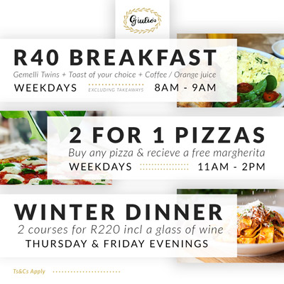 Winter specials at Giulio's Cafe