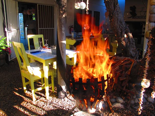 A roaring fire at The Noisy Oyster. Photo courtesy of the restaurant.