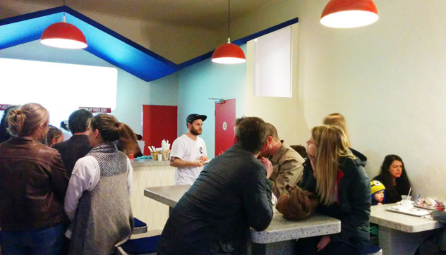 The 'fast-casual'-style space means that queues are prone to developing inside the restaurant