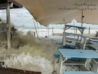 Waves crash through the restaurant's outdoor deck area. Photo courtesy of Robyn Gwilt.