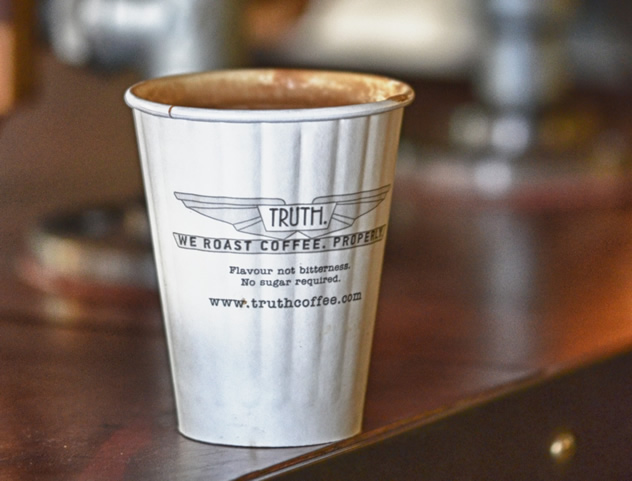 A cup of coffee at Truth Coffee Roasting HQ. Photo courtesy of Mickey Hoyle and Haldane Martin.