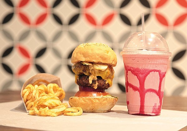 A burger and milkshake at the Great Burger Company. Photo supplied