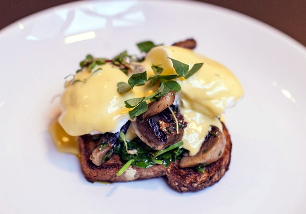 Eggs Benedict with mushrooms at Jarryds. Photo supplied.
