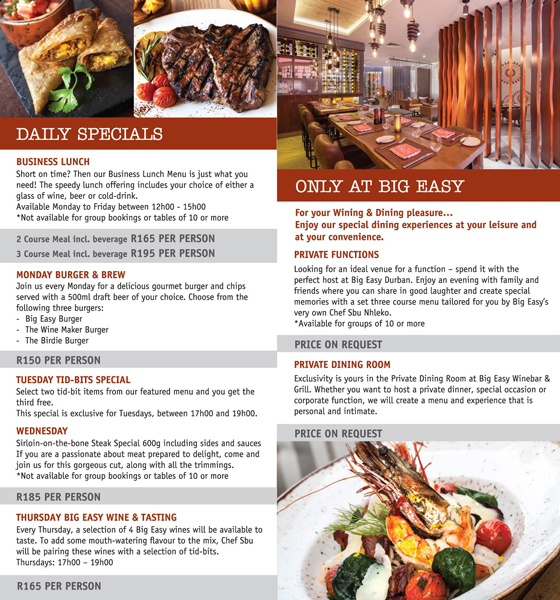 Daily specials at the BIg Easy by Ernie Els