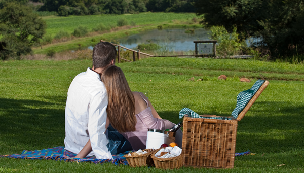 A couple enjoying a picnic at Budmarsh Country Lodge. Photo supplied.