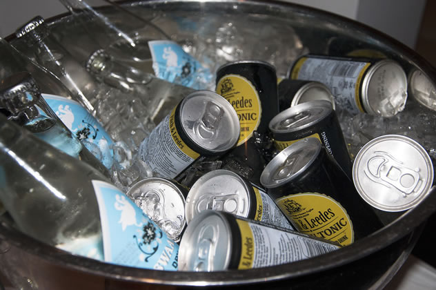 Cans of tonic in bowl of ice at Daddy Cool. Photo courtesy of the restaurant.