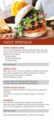 daily specials at Big Easy by Ernie Els