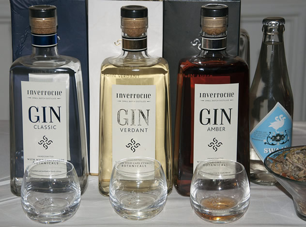 Bottles and glasses with gin. Photo courtesy of the restaurant.