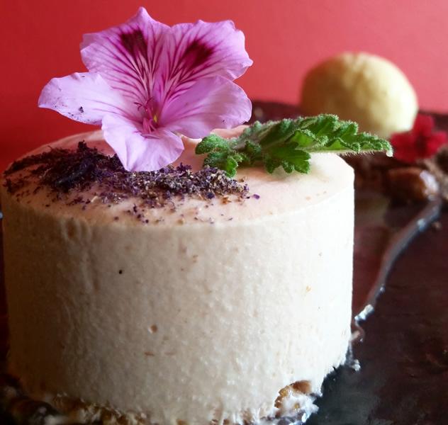 Geranium and honey iced nougatine dessert at Foliage. Photo courtesy of the restaurant.