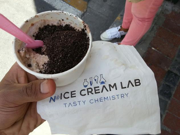 A regular tub  of chocolate ice cream topped with crushed Oreos. Photo courtesy of Ashraf Booley.