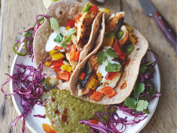 Jamie Olivers tasty fish tacos with game-changing kiwi lime and chilli salsa-feat