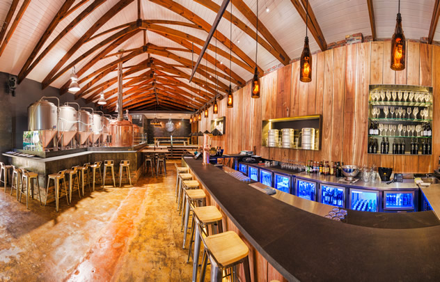 A view of the bar at the Wagon Trail Brewery. Photo courtesy of the restaurant.
