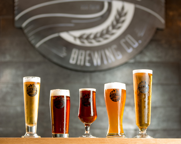 Different brews at the Wagon Trail Brewery. Photo courtesy of the restaurant.