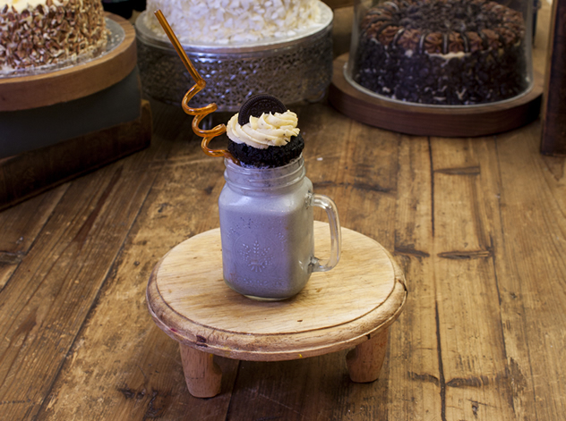 Black velvet Oreo shake topped with an Oreo cupcake.. Photo courtesy of the restaurant.