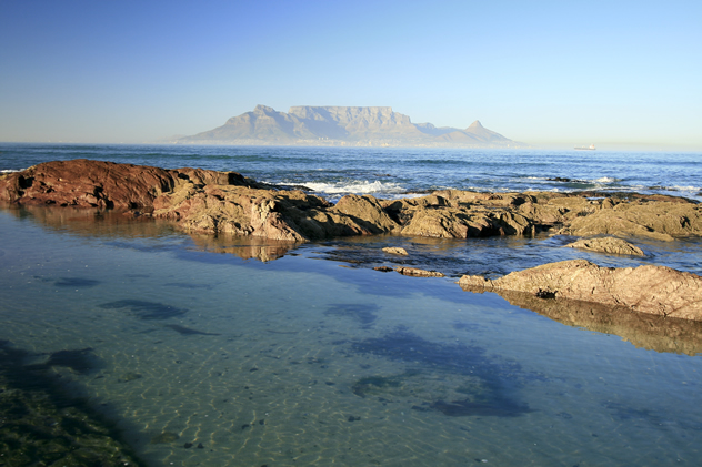 A view of Table Mountain from Bloubergstrand.