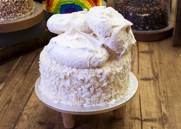 A classy and monotone with this coconut meringue cake. Photo courtesy of the restaurant.
