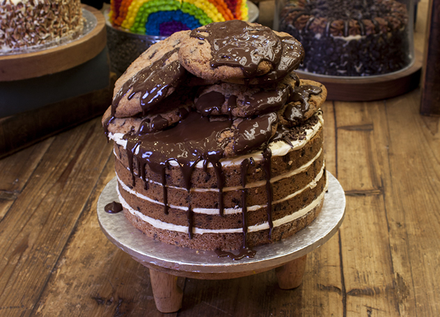 Giant chocolate-chip-cookie-dough cake. Photo courtesy of the restaurant.