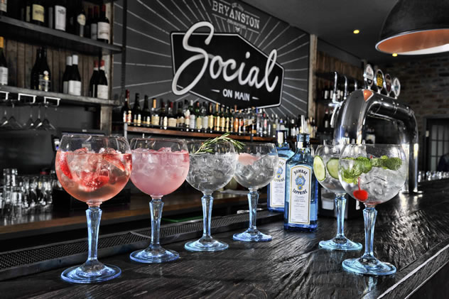 G&T's on the bar counter at Social on Main. Photo courtesy of the restaurant.