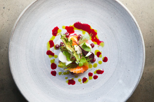 Pine-cured trout, smoed pine-nut puree, pine oil and organic beets. Photo by Jan Ras.