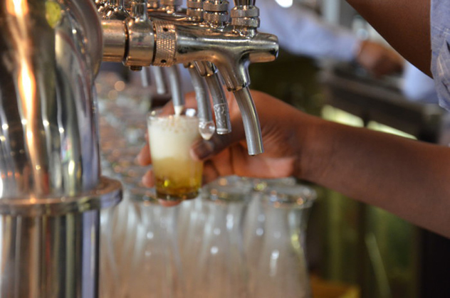 The beer taps at Airport Craft Brewers. Photo courtesy of the restaurant.