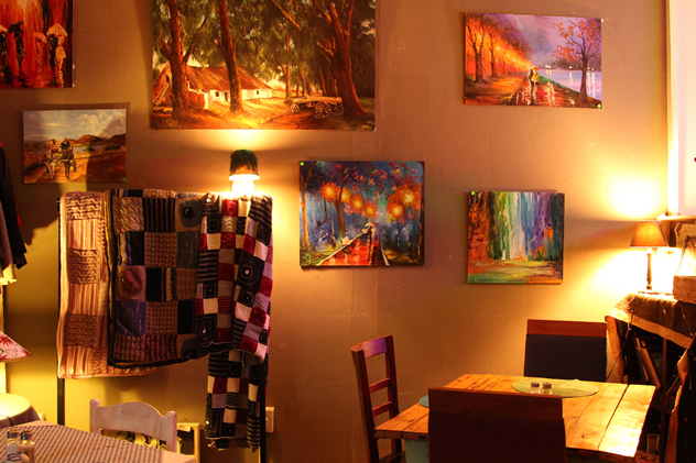 Decor adorns the walls at the Boston Bistro. Photo courtesy of the restaurant.