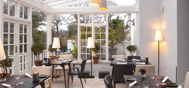 The stylish interior at Greenhouse at The Cellars-Hohenort Hotel.