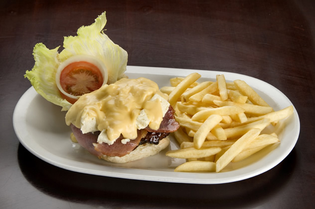 A burger and chips at Pirates Steakhouse and Pub. Photo courtesy of the restaurant.