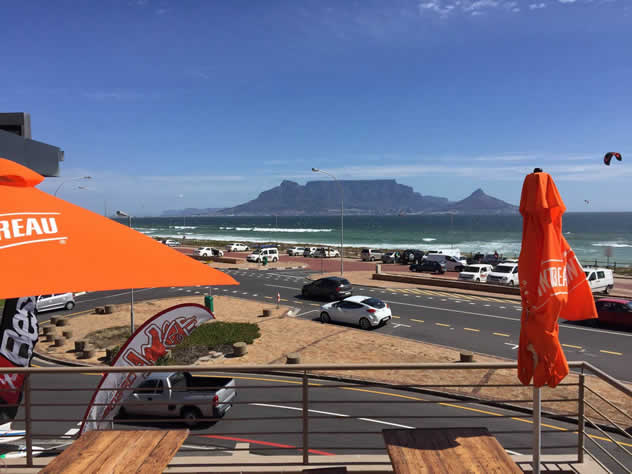 A view of Table Mountain outside at Jerry's Burger Bar in Blouberg. Photo courtesy of the restaurant.