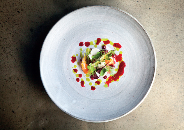 Pine-cured trout, smoked pine-nut purée and organic beets by The Test Kitchen.
